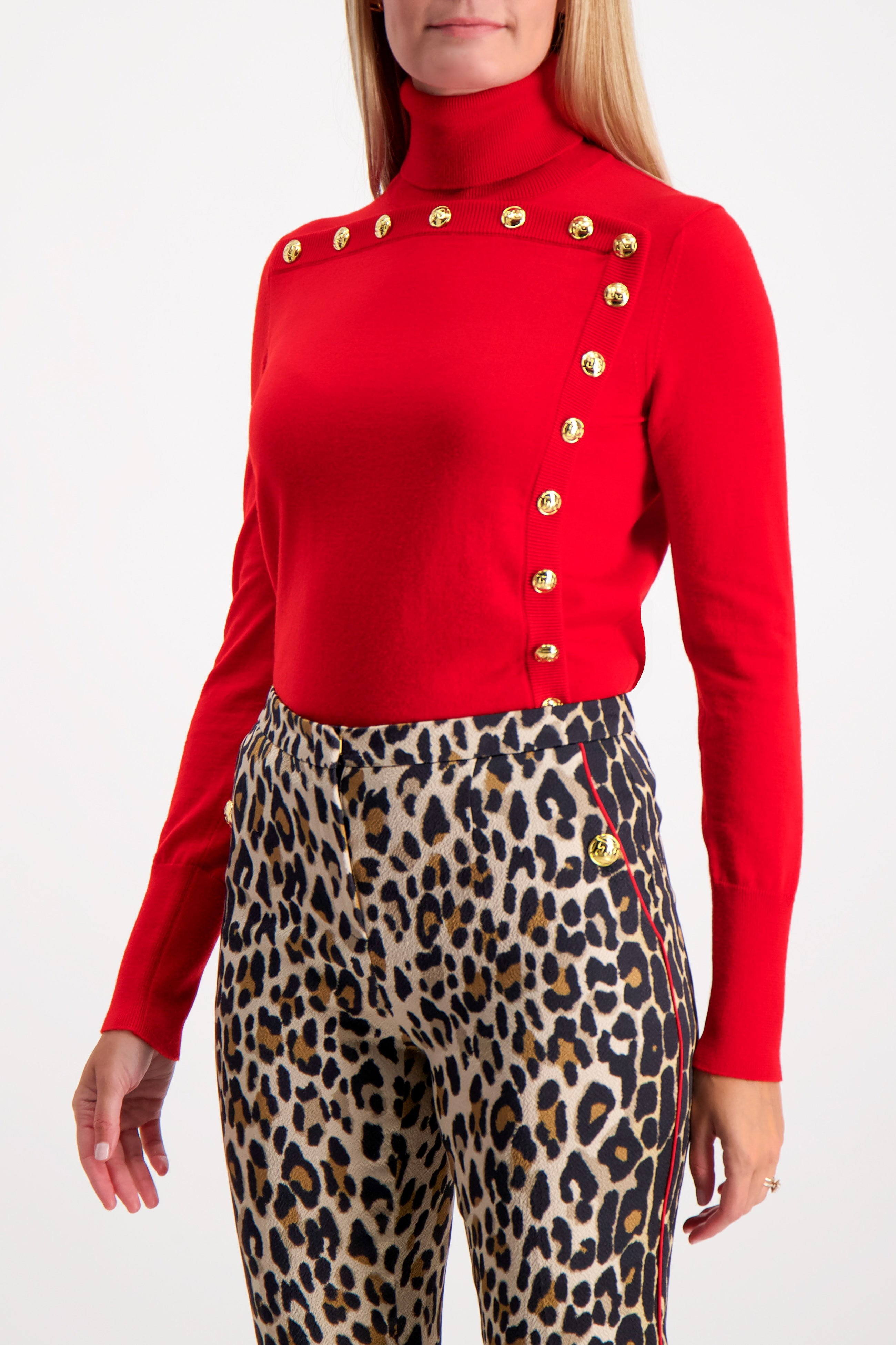 Front Crop Image Of Model Wearing Escada Seton Turtleneck Sweater