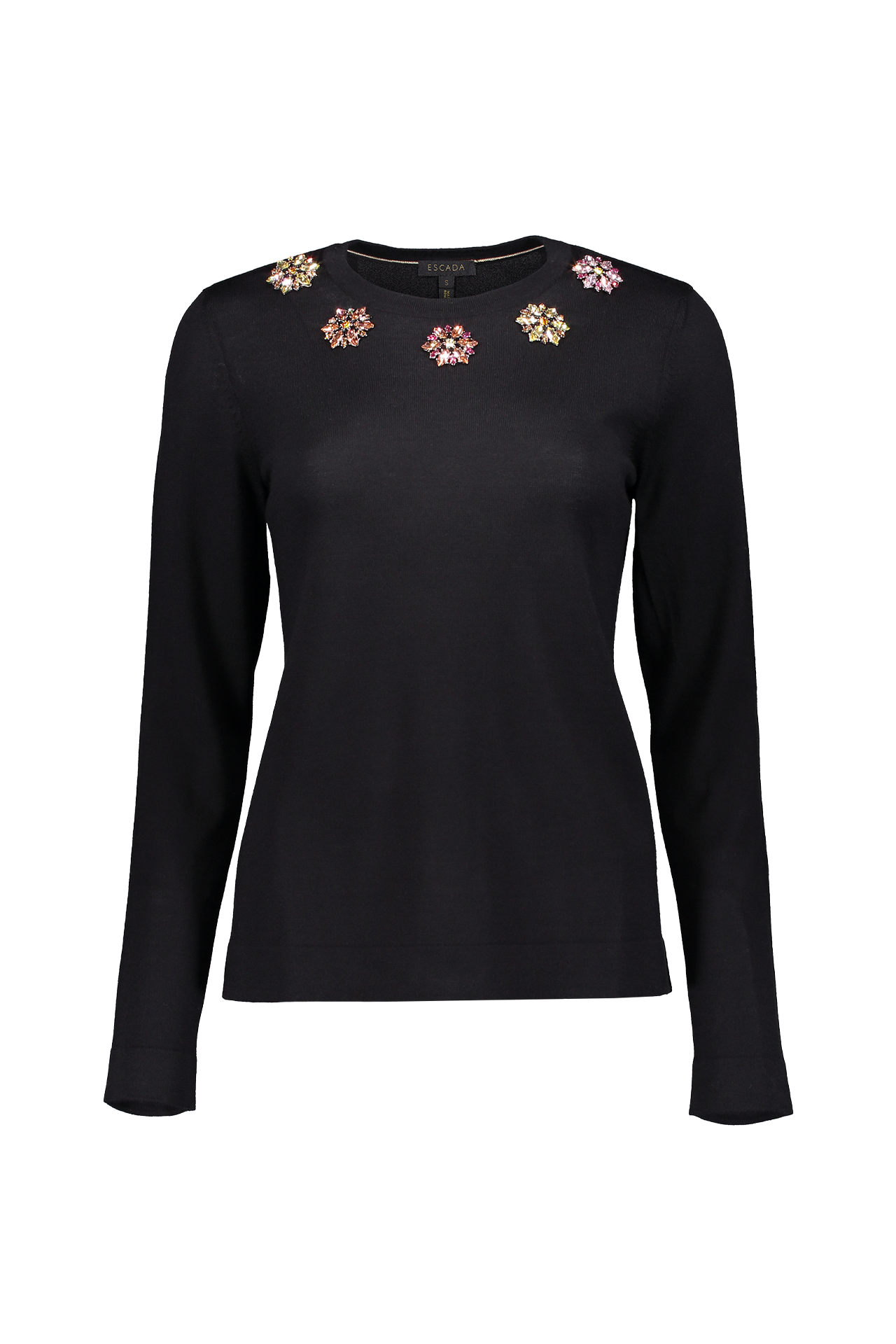 SUTTI FLORAL KNIT TOP BLACK
