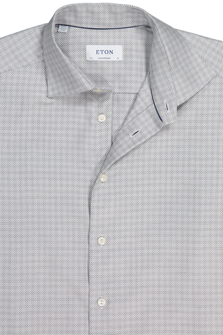 Front collar detail image of Eton Contemporary Fit Textured Twill Woven