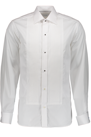 Long Sleeve Formal Woven In Gold Pleated White