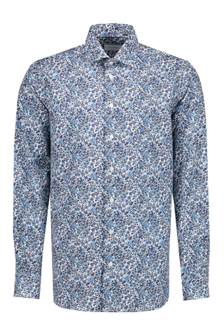 Long Sleeve Contemporary Blue Floral Poplin