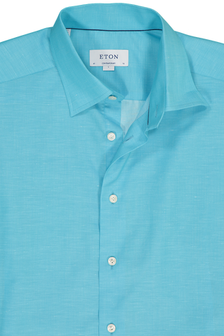 Neck Detail Long Sleeve Contemporary Blue Twill Cotton/Linen Shirt