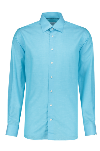 Front Image Long Sleeve Contemporary Blue Twill Cotton/Linen Shirt
