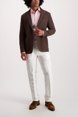 Full Body Image Of Model Wearing Long Sleeve Contemporary Pink Twill Dress Shirt