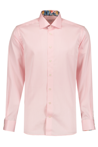Front Image Long Sleeve Contemporary Pink Twill Dress Shirt