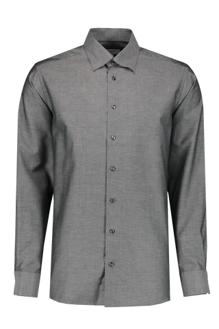 Front Image Long Sleeve Contemporary Grey Twill Cotton/Linen Shirt
