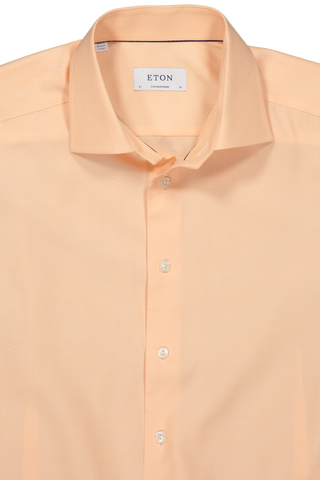 Collar Detail Image of Eton Long Sleeve Contemporary Peach Twill Cotton Dress Shirt