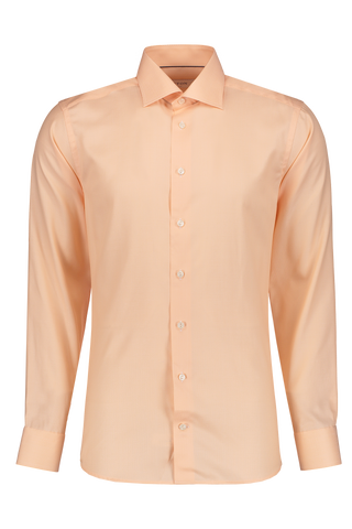 Front Image of Eton Long Sleeve Contemporary Peach Twill Cotton Dress Shirt