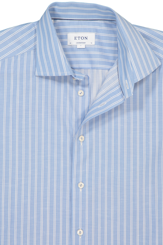 Neck Detail Long Sleeve Contemporary Stripe Twill Cotton/Linen Shirt