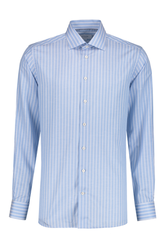Front Image Long Sleeve Contemporary Stripe Twill Cotton/Linen Shirt