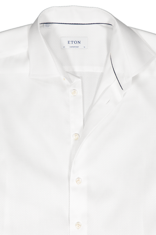 Neck Detail Long Sleeve Contemporary White Twill Dress Shirt