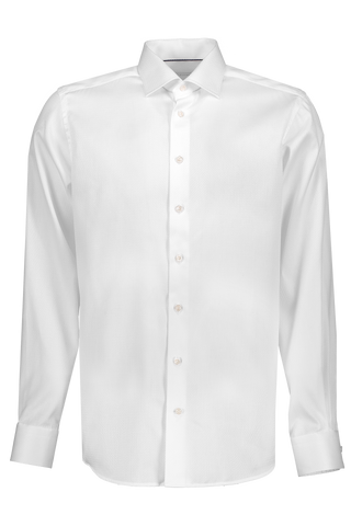 Front Visual Long Sleeve Contemporary White Twill Dress Shirt