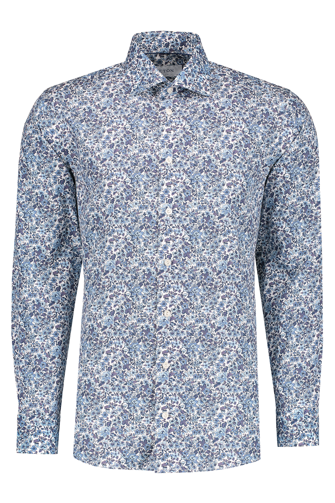 Long Sleeve Slim Blue Floral Poplin