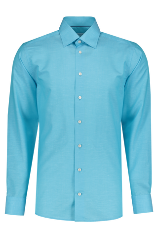 Front Image Long Sleeve Slim Blue Twill Cotton/Linen Shirt