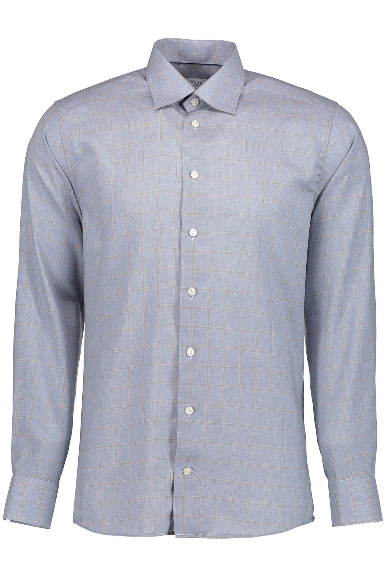 Long Sleeve Slim Fit Fine Twill Check Woven