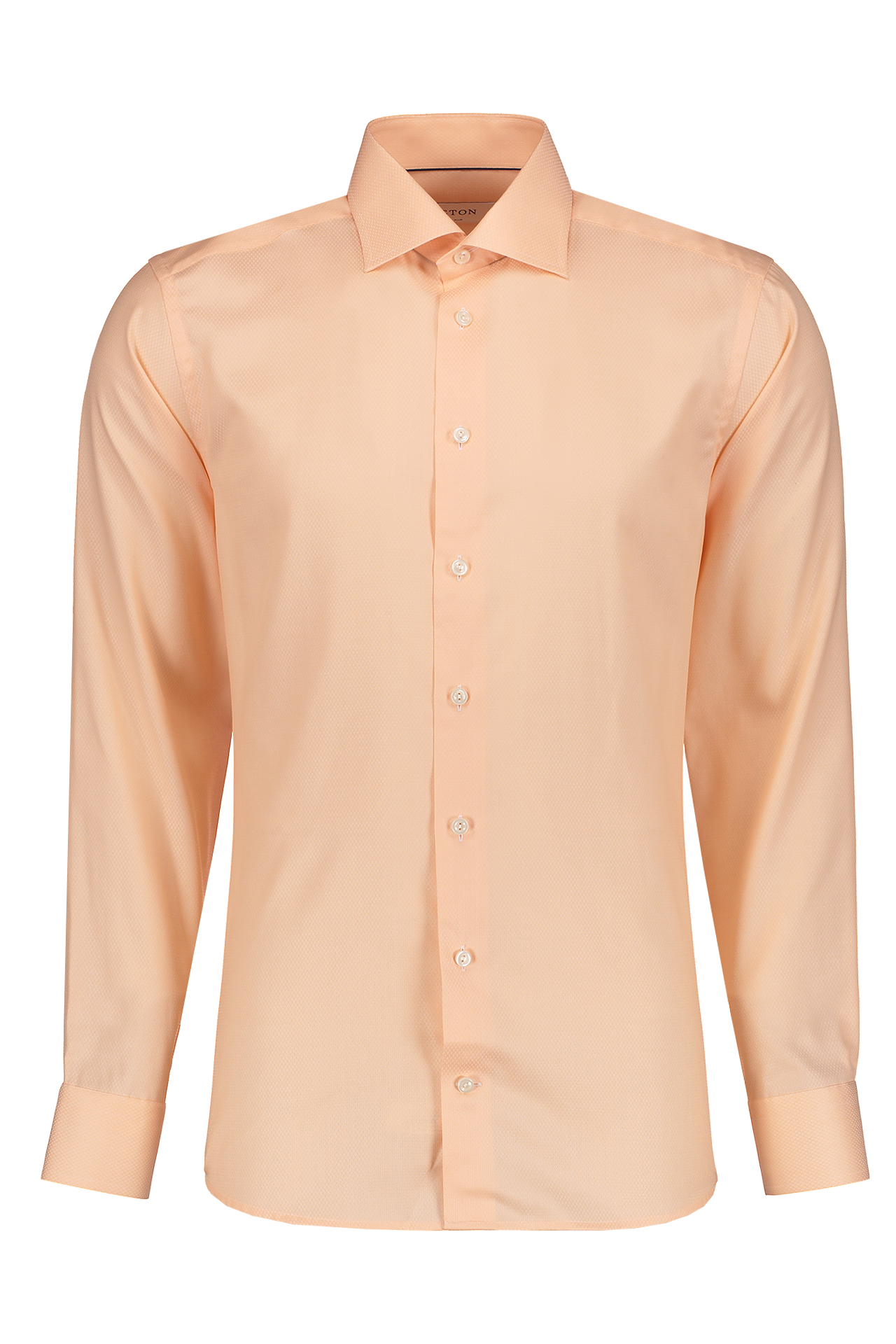 Front Image Of Eton Long Sleeve Slim Peach Twill Cotton Dress Shirt
