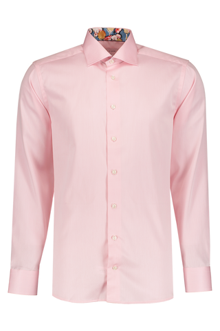 Front Image Long Sleeve Slim Pink Twill Dress Shirt