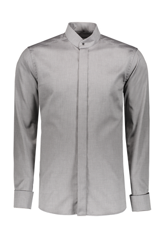 LONG SLEEVE FORMAL CONTEMPORARY WOVEN  BANDED GREY