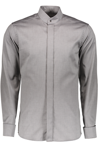 LONG SLEEVE FORMAL SLIM WOVEN BANDED GREY