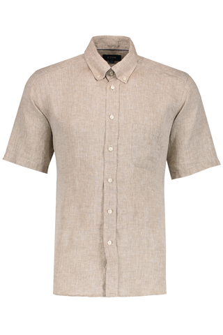Front Image Short Sleeve Slim Brown Linen Shirt