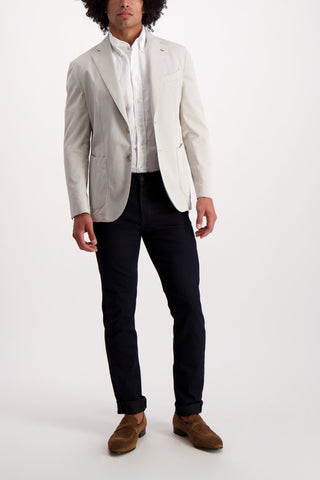 Full Body Image Of Model Wearing Image Of Eton Slim White Linen Shirt