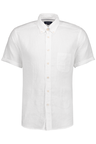 Short Sleeve Slim White Linen Shirt