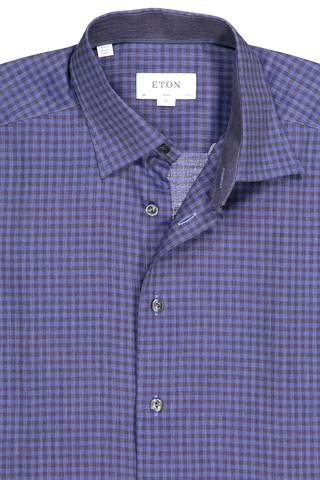 Front collar detail image of Eton Men's Slim Brushed Flannela Plaid with Solid Yoke