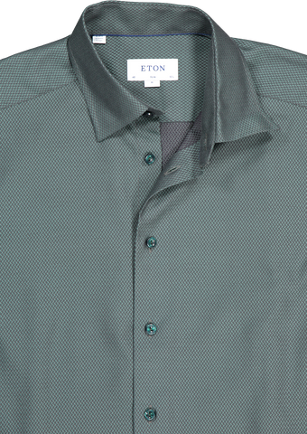 Front collar detail image of Eton Slim Fancy Dress Shirt Textured with Colored Button