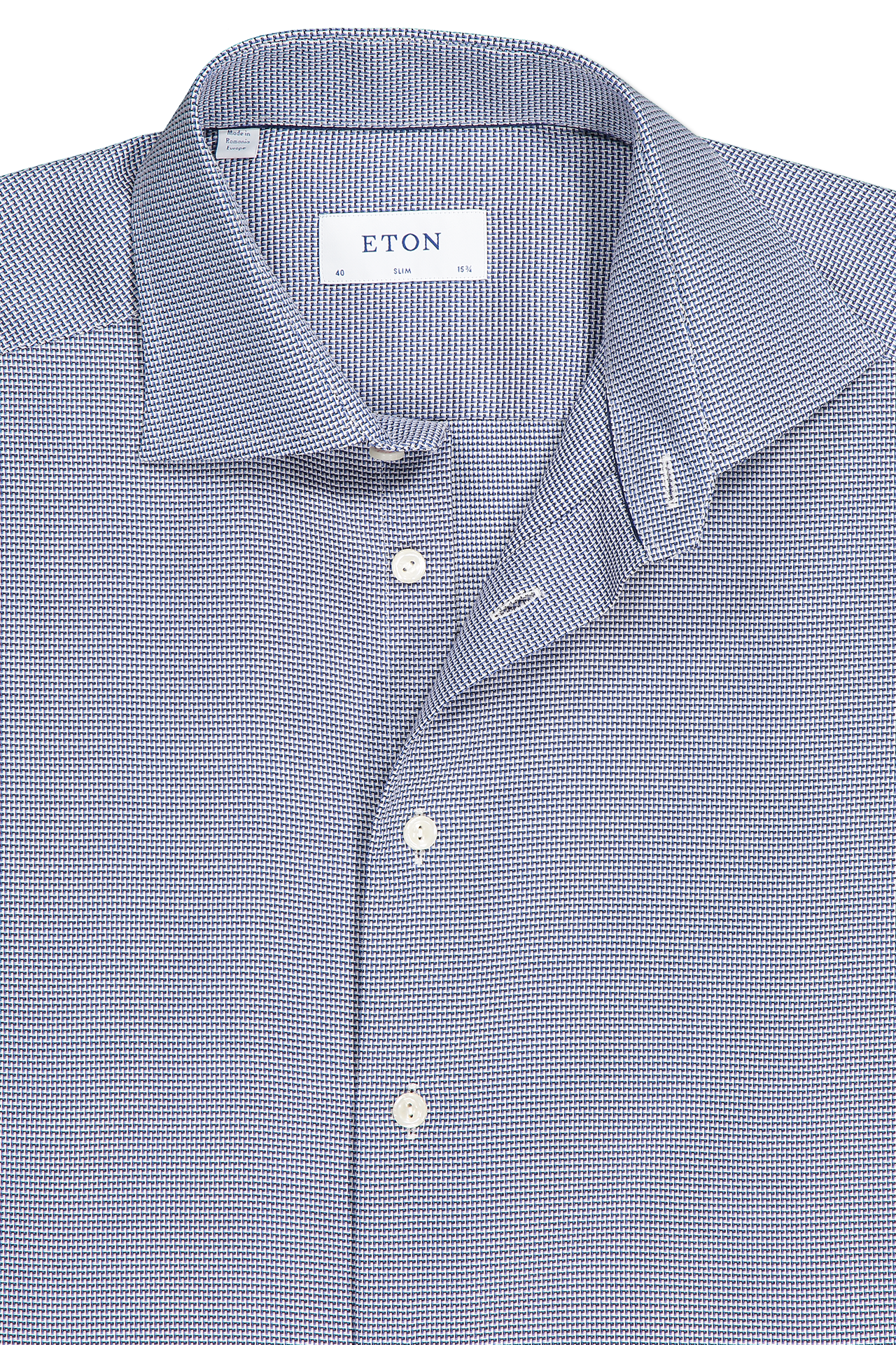 Front collar detail image of Eton Slim Fit Textured Solid Woven Blue