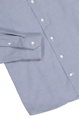 Hemline and cuff detail image of Eton Slim Fit Textured Solid Woven Blue
