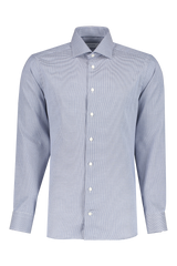 Front view image of Eton Slim Fit Textured Solid Woven Blue