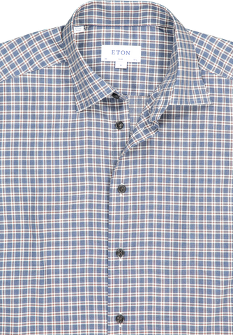 Front collar detail image of Eton Slim Flannela Plaid Dress Shirt with Horn Button