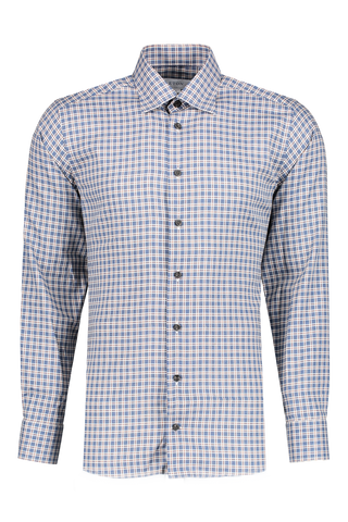 Front view image of Eton Cont Flannela Plaid with Horn Button