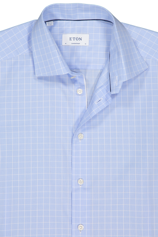 Front collar detail image of Etro Windowpane Contemporary Fit Dress Shirt 71