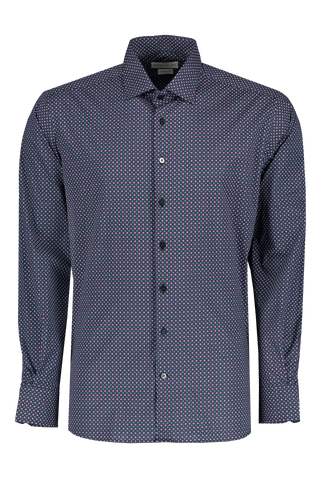 Front view image of Etro Cotton Dress Shirt Navy With Dots