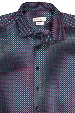 Front collar detail image of Etro Cotton Dress Shirt Navy With Dots