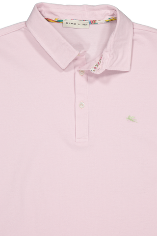 Front collar detail image of Cotton Jersey Polo Pink