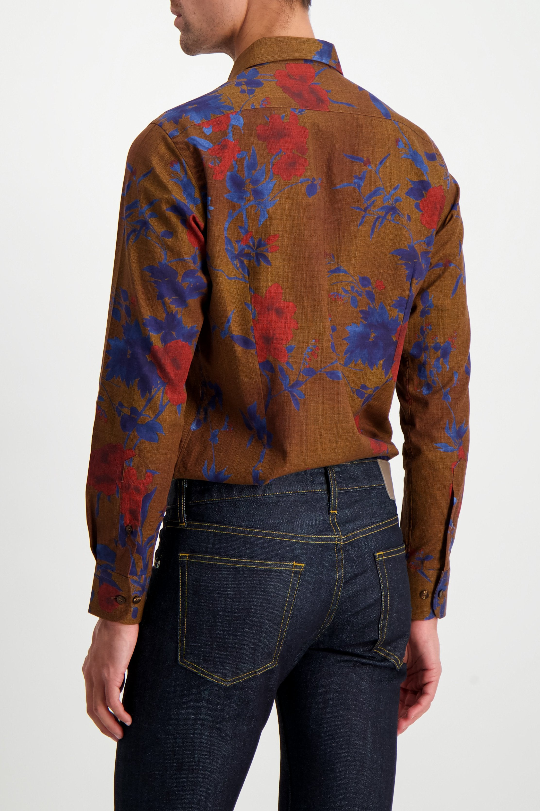 Back Crop Image Of Model Wearing Etro Floral Dress Shirt