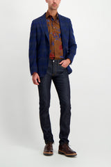 Full Body Image Of Model Wearing Etro Floral Dress Shirt