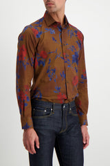 Front Crop Image Of Model Wearing Etro Floral Dress Shirt