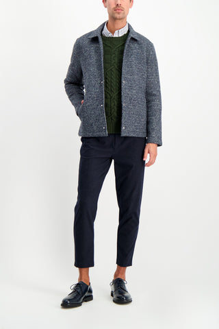 Full Body Image Of Model Wearing Etro Cable Knit Crewneck