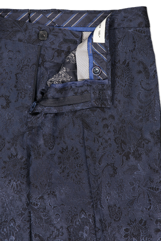 Button fly and zipper detail image of Etro Neutra Trousers Navy