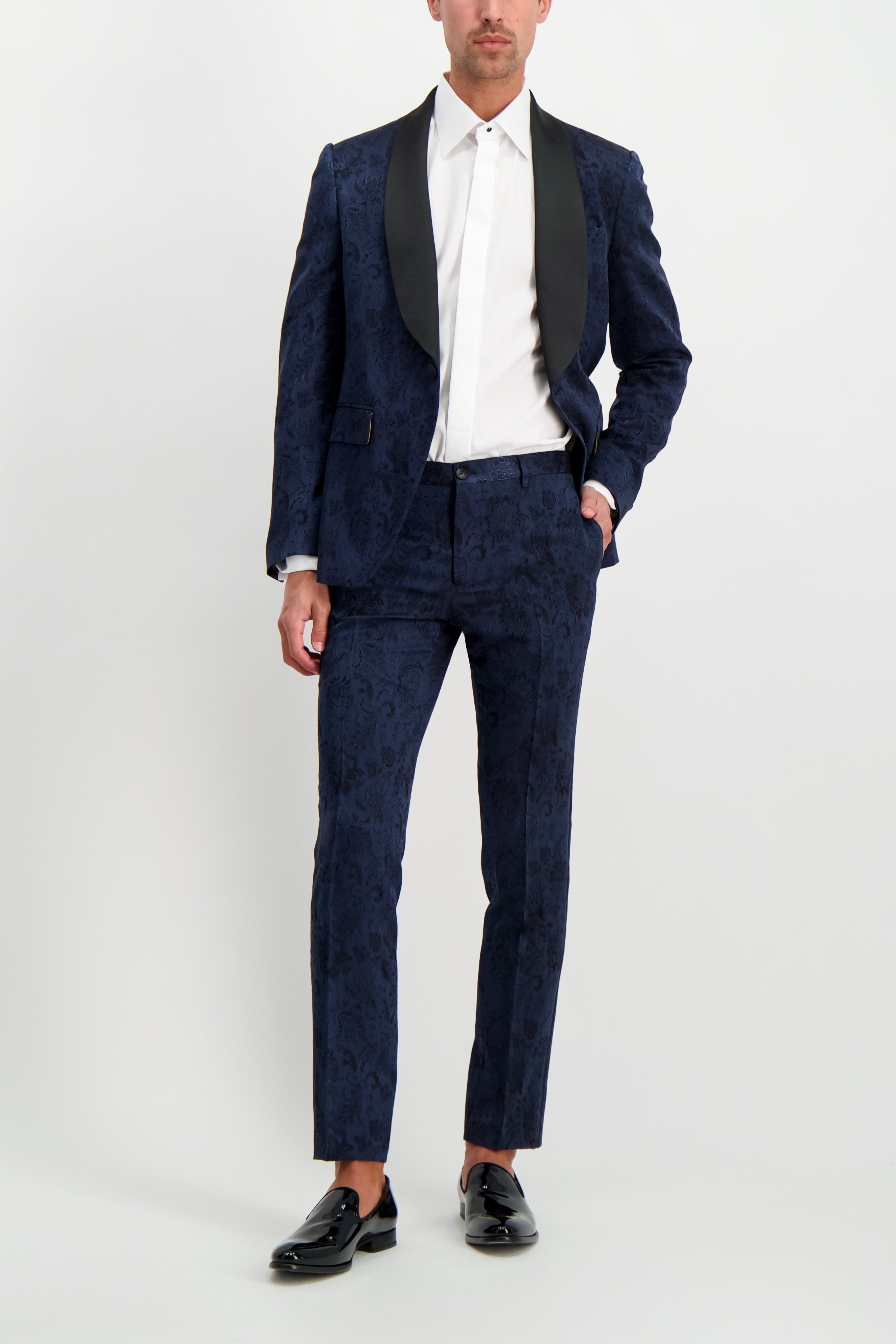 Full Body Image Of Model Wearing Etro Neutra Trousers Navy