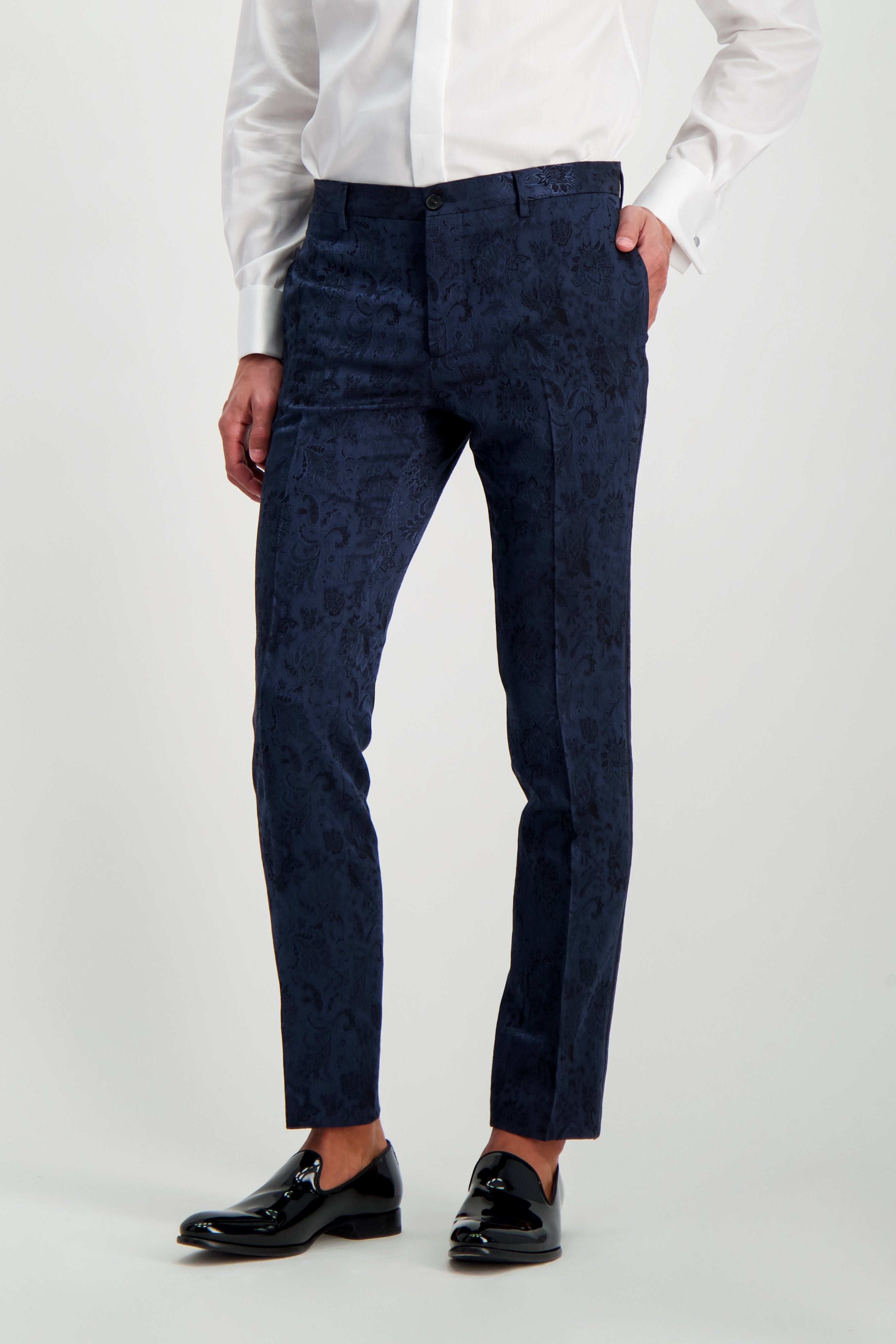 Front Crop Image Of Model Wearing Etro Neutra Trousers Navy
