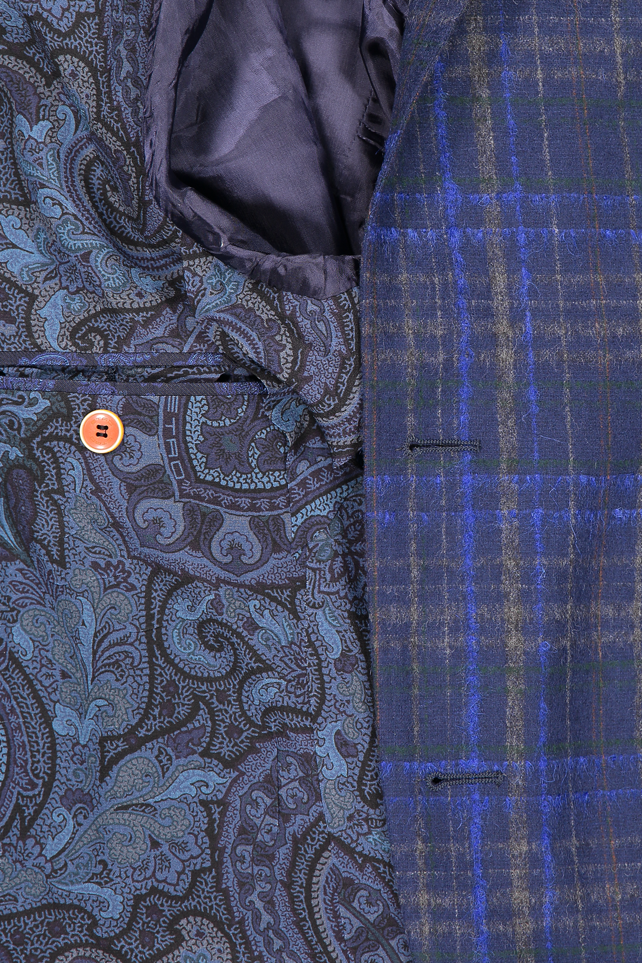 Interior detail image of Etro Plaid Wool Mohair Jacket