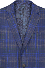 Lapel detail image of Etro Plaid Wool Mohair Jacket