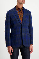 Front Crop Image Of Model Wearing Etro Plaid Wool Mohair Jacket