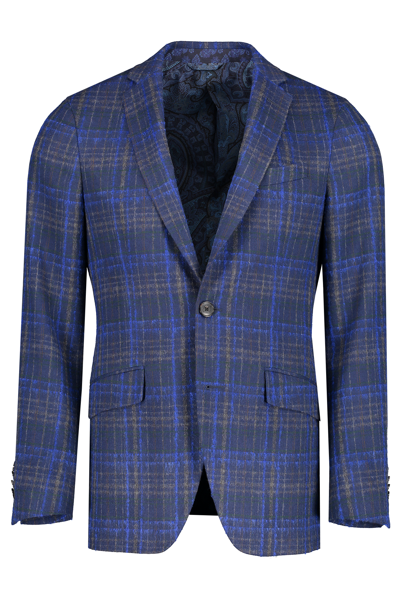 Front image of Etro Plaid Wool Mohair Jacket