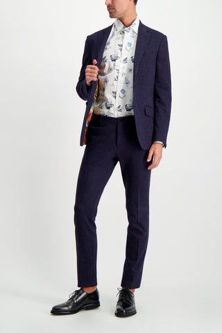 Full Body Image Of Model Wearing Etro Printed Dress Shirt