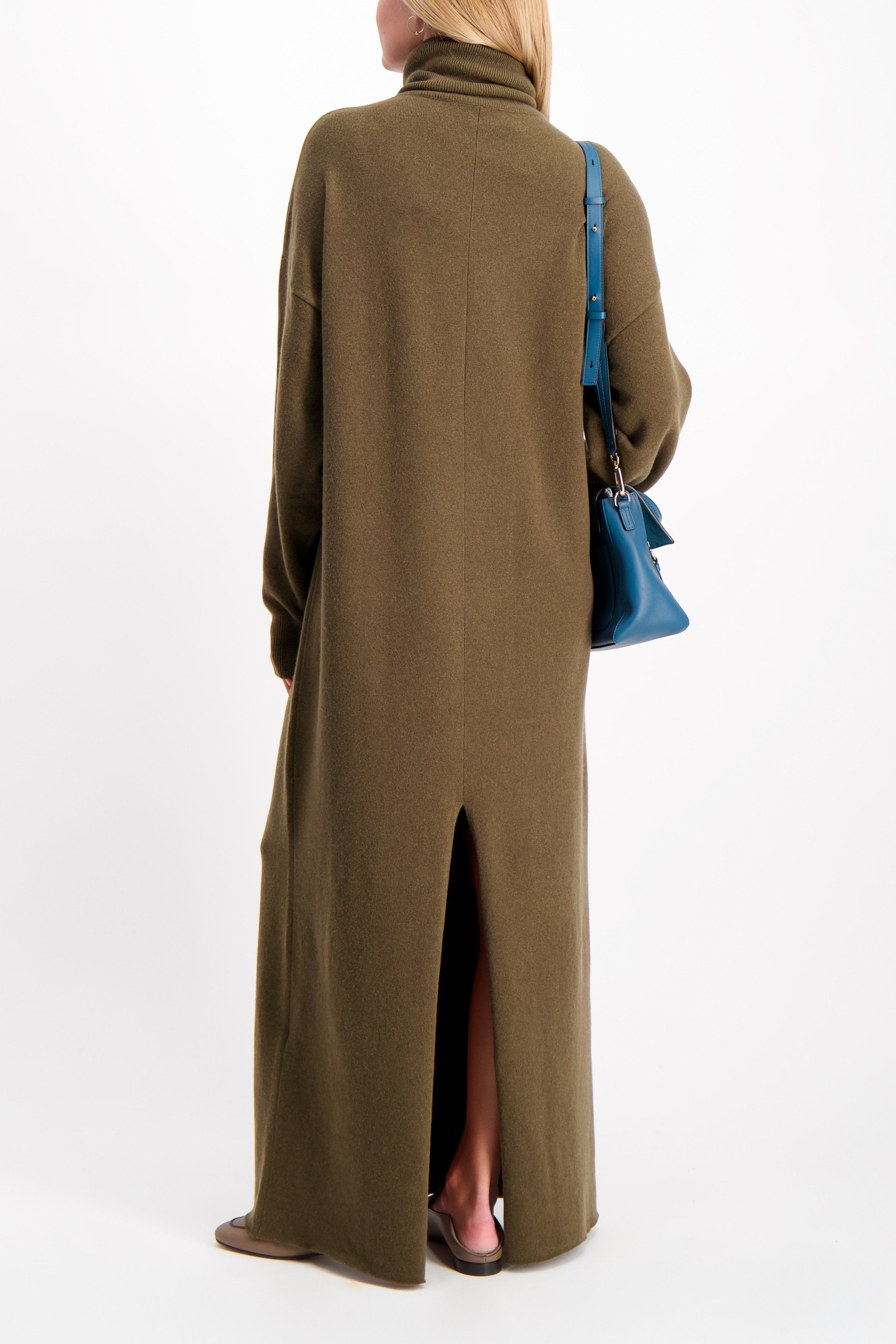 Back Crop Image Of Model Wearing Extreme Cashmere Maxi Dress Brown